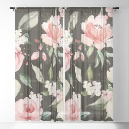 Pink & White Roses On Black Background Watercolor Painting Floral Pattern Sheer Curtain