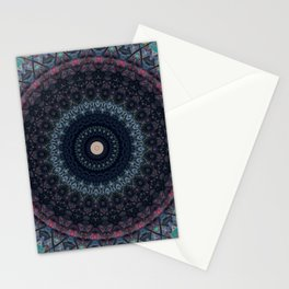 Mandala in pink, black and blue Stationery Cards