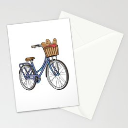 Womens bike with Basket & Bread Stationery Cards
