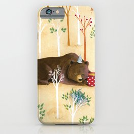 Brown bear daydreaming iPhone Case