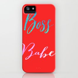 Boss Babe Minimal Typography Red Palette iPhone Case