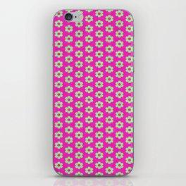 Hot Pink Plaid Mint Green Flower iPhone Skin