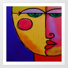 Colorful Abstract Face Digital Painting Art Print