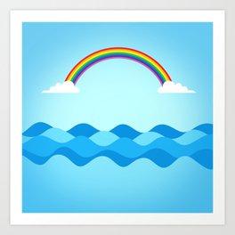 Rainbow & Wavy Sea Art Print