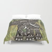 ornate elephant Duvet Covers featuring Ornate Elephant by ArtLovePassion