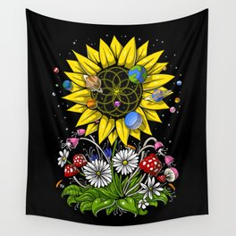 Hippie Sunflower Sacred Geometry Wall Tapestry