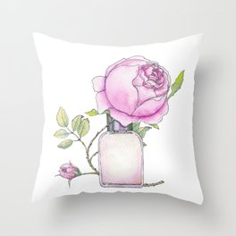 Fragrance bottle with rose flower Throw Pillow