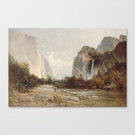 Bridal Veil Falls. Yosemite Valley by Thomas Hill 2 Canvas Print