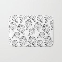 Artichokes. Monochrome black and white pattern. Sketch style vegetables artichokes on a white backgr Bath Mat