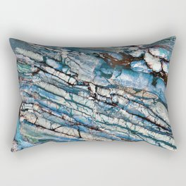 Stratified Blue Rock-Art Panel Rectangular Pillow