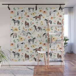 Horses and Flowers, Sunrise Floral, Cream, Horse Print, Horse Illustration, Pink and Yellow, Equestrian, Little Girls Wall Mural