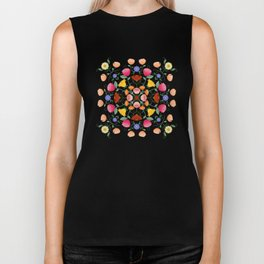 Folk Art Inspired Garden Of Fantastic Floral Delight Biker Tank