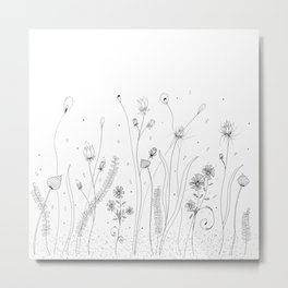 Black Doodle Floral Illustration Art Metal Print