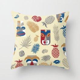 tiki masks light yellow seamless pattern Throw Pillow