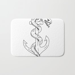Rattlesnake Coiling on Anchor Drawing Bath Mat