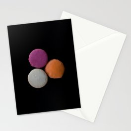 The Art of Food Macarons on Black Stationery Cards