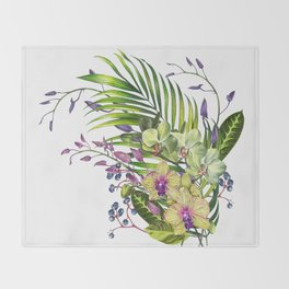 Bouquet, Orchid, Bud, Leaf Clipart, watercolor, handpainted, floral, flower, design, style, troical Throw Blanket