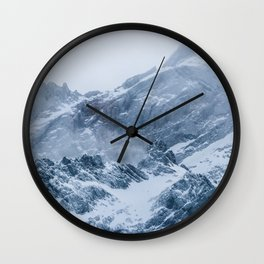Mountains snow and fog Wall Clock