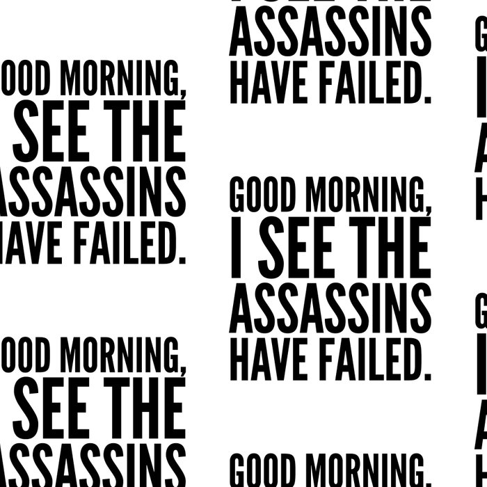 Good morning, I see the assassins have failed. Leggings