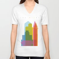san diego V-neck T-shirts featuring Shapes of San Diego by Glen Gould