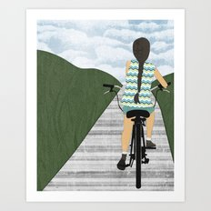Cyclist From Behind Art Print