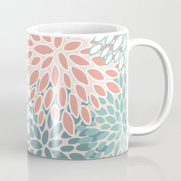 Festive, Floral Prints, Teal Green, Peach, Coral, Colour Prints Coffee Mug