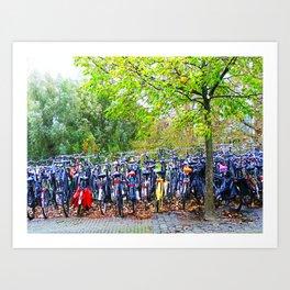 Bicycles at Amstelstation Art Print
