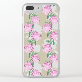 Stripy Peony Clear iPhone Case