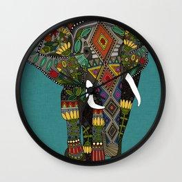 floral elephant teal Wall Clock