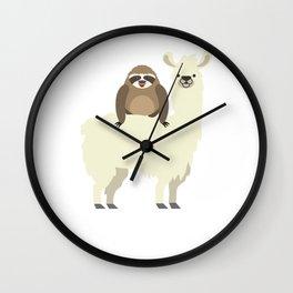 Cute & Funny Sloth Riding Llama Wall Clock