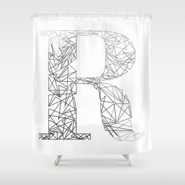 ''Geometry Collection'' - Minimal Letter R Print Shower Curtain