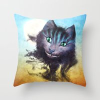 cheshire cat Throw Pillows featuring Cheshire Cat by Diogo Verissimo