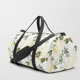 Modern yellow ivory green hand painted roses floral Duffle Bag
