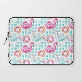 Summer flamingo pool floats. Watercolor flamingo, unicorn pool float, ring donut lilo floating in blue swimming pool. Vintage hand painted illustration pattern Laptop Sleeve