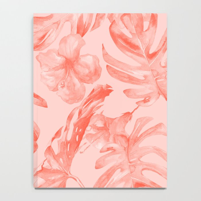 Tropical Dream Palm Leaves Deep Pink Notebook