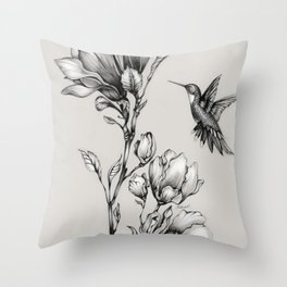 Magnolia Flower and Hummingbird Throw Pillow