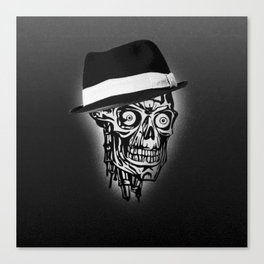 Elegant Skull with hat, B&W Canvas Print