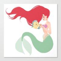 ariel Canvas Prints featuring Ariel by punziella