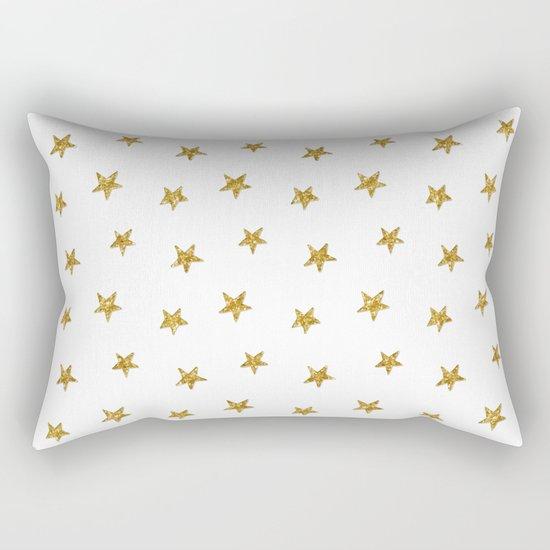 Merry christmas-Stars shining brightly-Gold glitter pattern Rectangular Pillow