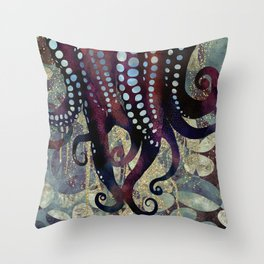 Metallic Ocean II Throw Pillow