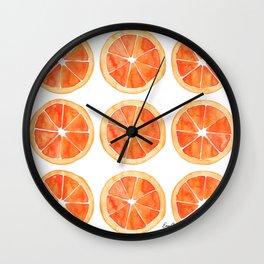 Watercolor Orange Slices Wall Clock