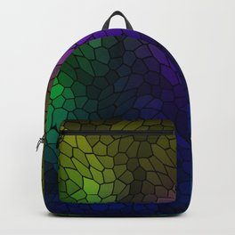 Volumetric texture of pieces of blue glass with a luminous mysterious mosaic. Backpack