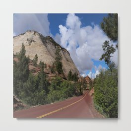 A Red Road In Zion NP Metal Print