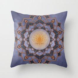 Orange Lotus Flower Mandala On A Textured Blue Background Throw Pillow