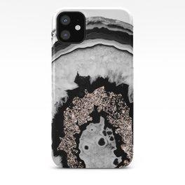 Gray Black White Agate with Rose Gold Glitter #1 #gem #decor #art #society6 iPhone Case