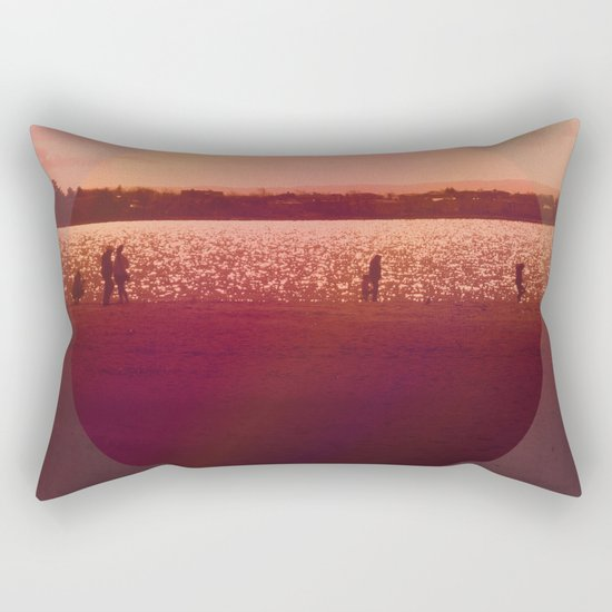 Vintage Coral Sunset, Winter Beach Rectangular Pillow