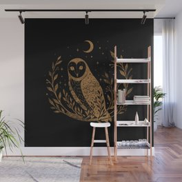 Owl Moon - Gold Wall Mural