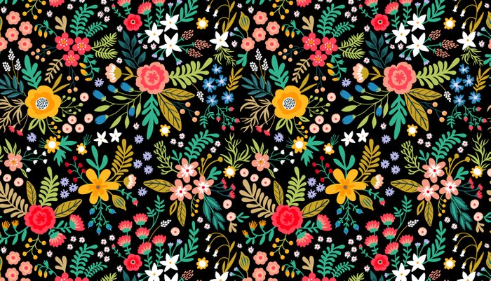 Amazing floral pattern with bright colorful flowers, plants, branches and berries on a black backgro Kissenbezug