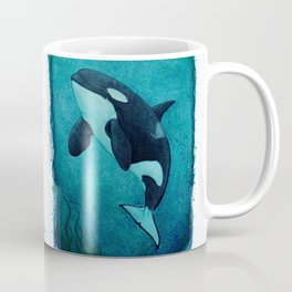"""""""The Matriarch"""" by Amber Marine ~ Orca / Killer Whale (J2 Granny) Watercolor Art, (Copyright 2016) Coffee Mug"""