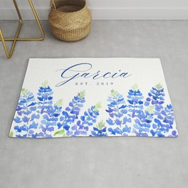 Garcia family sign with Texas bluebonnets (Message me for a different family name and date) Rug